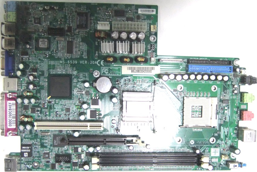 MS-6539 Ver3.0A (Intel945G/Socket478/AGP/PCI/DDR*2) + MS6977 (PCI*2ライザーカード)